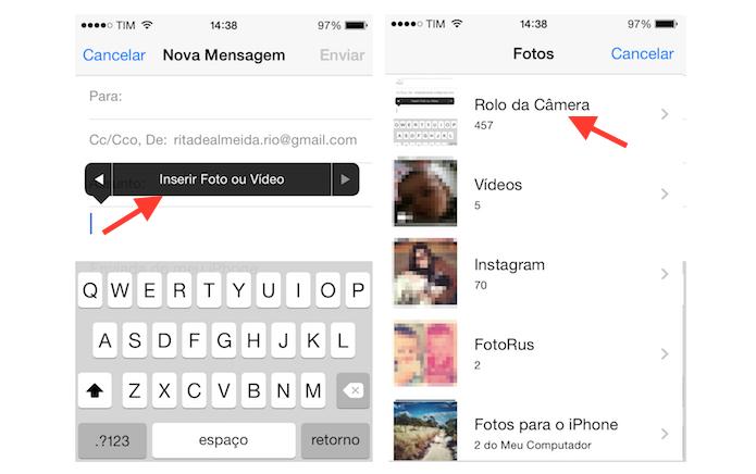 Buscando por uma foto ou vídeo na biblioteca do iPhone para que esse arquivo seja anexado a uma nova mensagem do Mail (Foto: Reprodução/Marvin Costa)