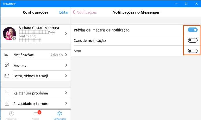 Desative o som do Messenger no Windows 10 (Foto: Reprodução/Barbara Mannara)