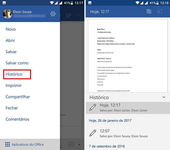 Usuário pode consultar alterações feitas por colegas no histórico do Office para Android (Foto: Reprodução/Elson de Souza)