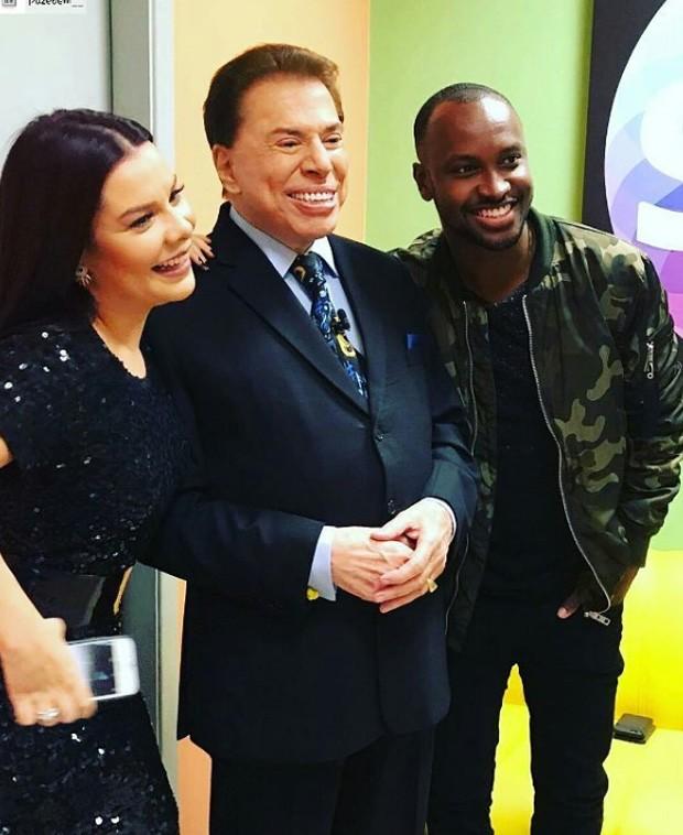 Fernanda Souza, Silvio Santos e Thiaguinho (Foto: Reprodução/Instagram)