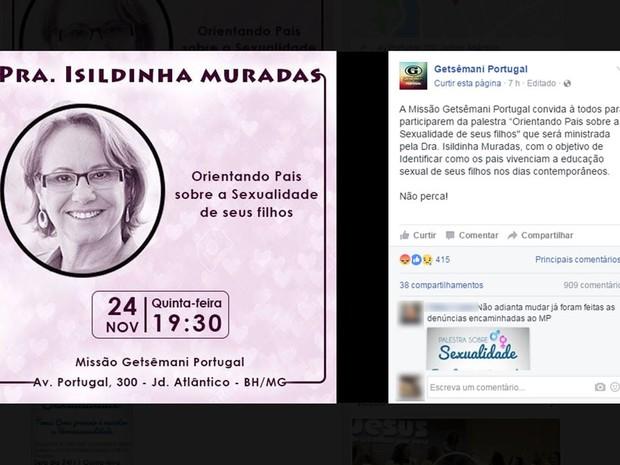 Após polêmica, palestra em igreja Getsêmani de Belo Horizonte, sobre prevenção e reversão tem nome alterado para 'Orientando pais sobre a sexualidade dos filhos' (Foto: Reprodução/Facebook)
