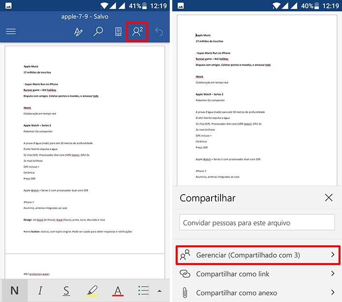 Usuário pode gerenciar contatos que tem acesso ao documento colaborativo (Foto: Reprodução/Elson de Souza)