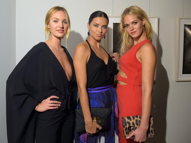 Candice Swanepoel, Adriana Lima e Erin Heatherton em evento em Nova York, nos Estados Unidos (Foto: Michael Loccisano/ Getty Images/ AFP)