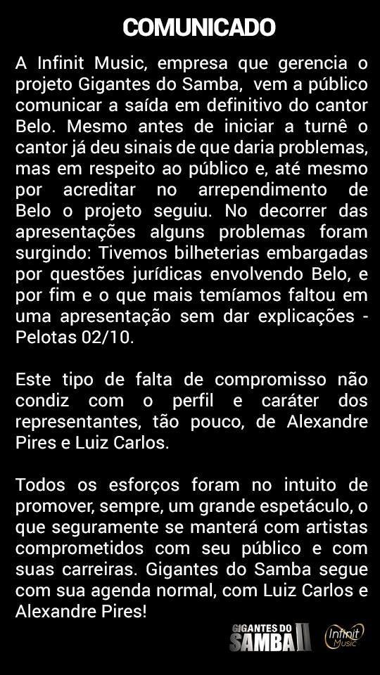 Infinit Music anuncia que Belo está fora do projeto Gigantes do Samba (Foto: Reprodução/Facebook)