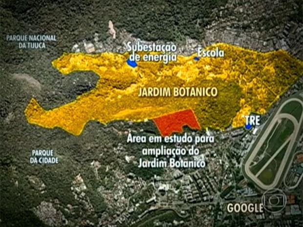 Mapa mostra o projeto de expansão do Jardim Botânico (Foto: Reprodução / TV Globo)