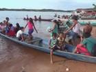 Índios navegam 22km para votar (Reprodução/TV Amazonas)