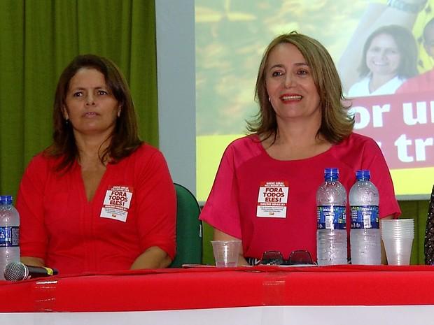 PSTU lançou Rosália Fernandes como candidata a prefeita de Natal; vice é Luciana Lima (Foto: Reprodução/Inter TV Cabugi)