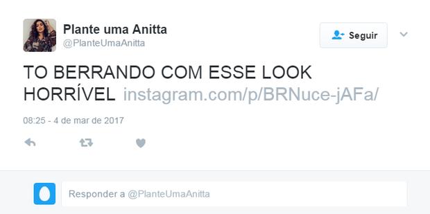 Look de Anitta gera memes (Foto: Reprodução / Twitter)