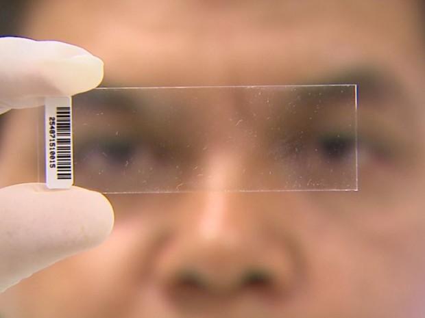 Chip impresso na lâmina é capaz de identificar até 416 tipos de vírus (Foto: Alexandre Sá/EPTV)