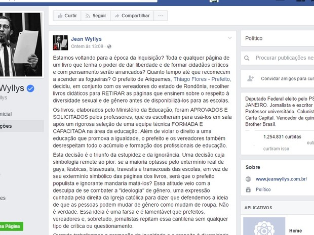 Jean fez post criticando prefeito por causa de retirada de união gay em livros (Foto: Facebook/Jean Wyllys)
