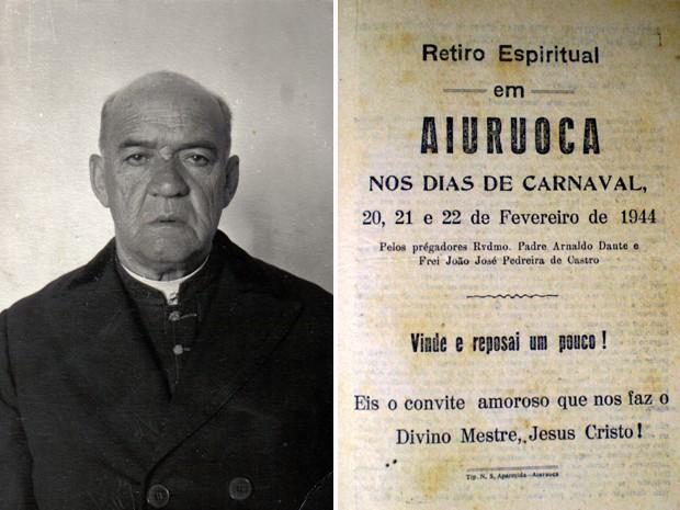 Monsenhor Nagel (à esq) e o programa de um dos retiros espirituais realizados em Aiuruoca (Foto: Arquivo Câmara Municipal de Aiuruoca)