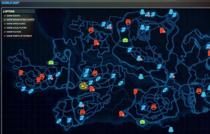Mapa com os eventos do game (Foto: Reprodução)
