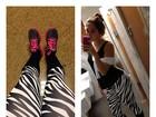 Carolina Portaluppi usa calça com estampa de zebra para treinar