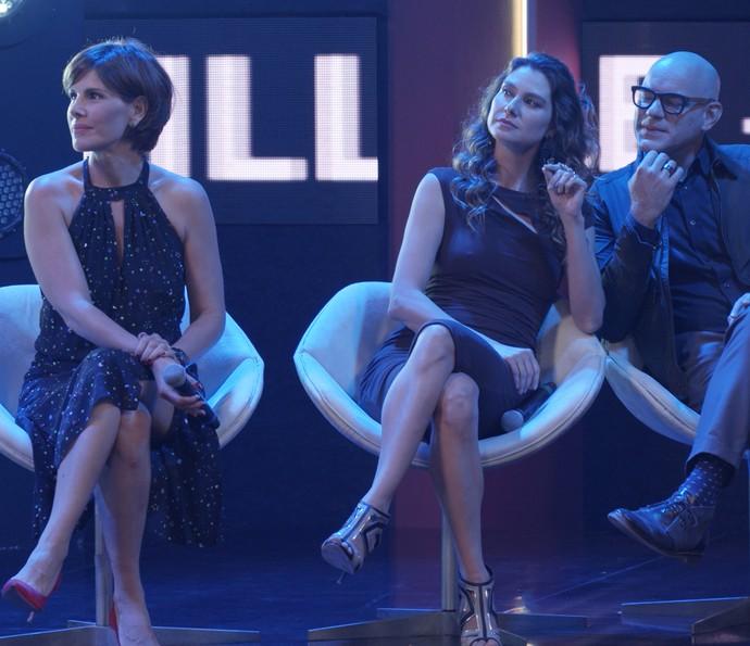 A atriz também gravou ao lado de Lavínia Vlasak e Marat Descartes (Foto: TV Globo)