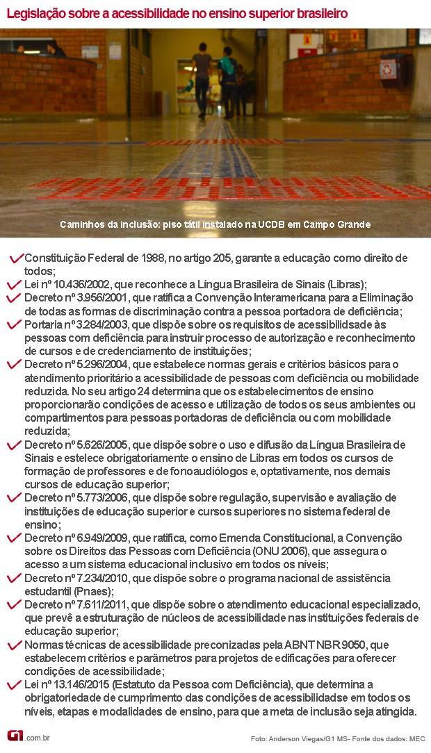Infográfico da legislação sobre acessibilidade no ensino superior brasileiro (Foto: Anderson Viegas/G1 MS)