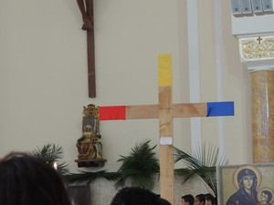 Cruz da Jornada Juventude Mogi das Cruzes (Foto: Jenifer Carpani/G1)
