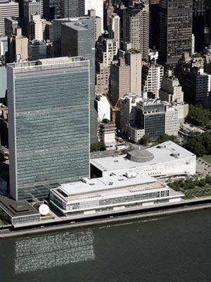 Vista aérea da sede da ONU, em Nova York (Foto: Stan Honda / AFP)