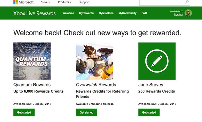 Veja as tarefas do Xbox Live Rewards (Foto: Reprodução/Murilo Molina)