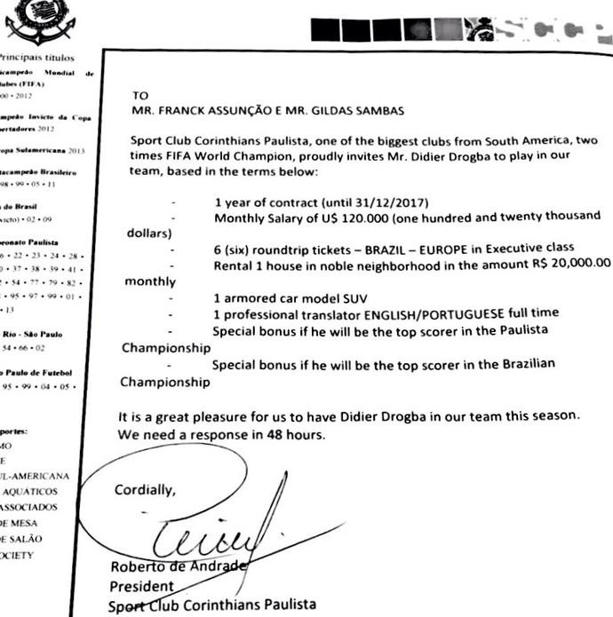 Carta Corinthians Drogba (Foto: Reprodução)