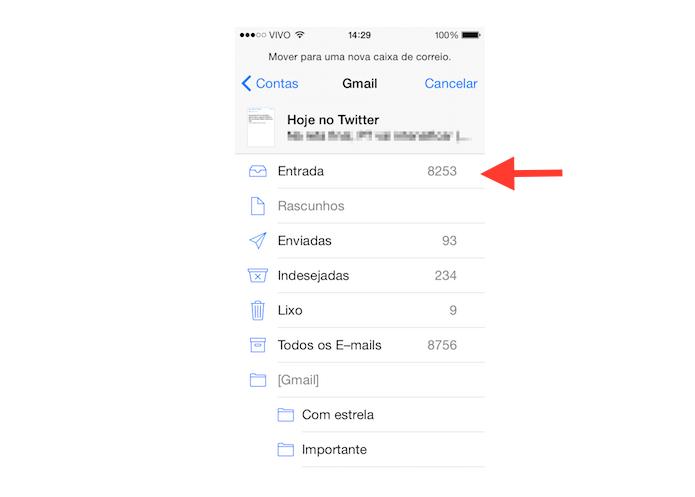 Movendo o e-mail selecionado para outra caixa de entrada no Mail para iOS (Foto: Reprodução/Marvin Costa)