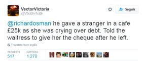 Internauta relata que George Michael doou dinheiro para garçonete pagar dívidas (Foto: Reprodução / Twitter)