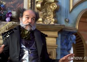O coronel usa o seu autoritarismo para convencer o filho (Foto: Meu Pedacinho de Chão/TV Globo)