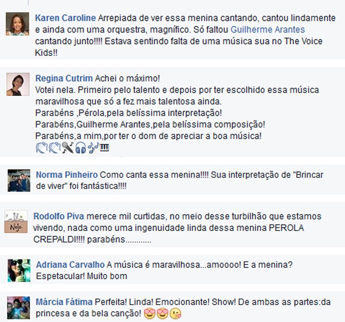 Comentários Pérola Crepaldi The Voice Kids nas redes sociais (Foto: Reprodução/Redes sociais)