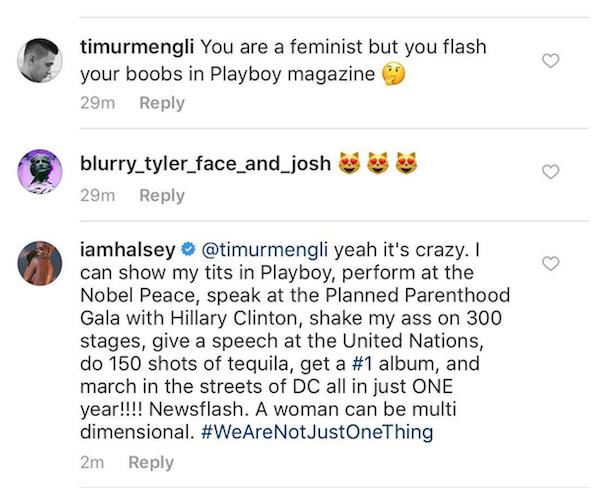 A resposta de Halsey a um fã que questionou seu feminismo (Foto: Instagram)