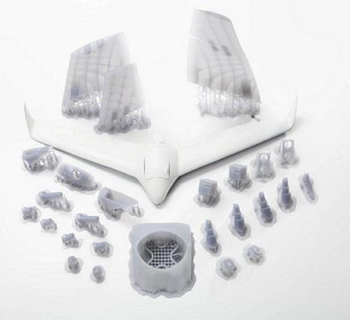 Drone usa peças customizadas impressas em 3D para diminuir peso e reduzir o arrasto (Foto: Reprodução/Marble)
