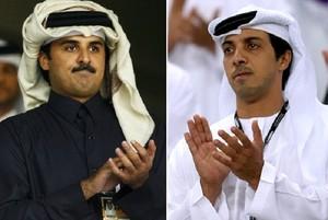 Sheiks Al Thani e Mansour, donos do Paris Saint-Germain PSG e Manchester City (Foto: Montagem sobre fotos da Getty Images)