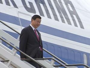 Presidente da China, Xi Juping, chega a Fortaleza para reunião do Brics (Foto: TV Verdes Mares/Reprodução)