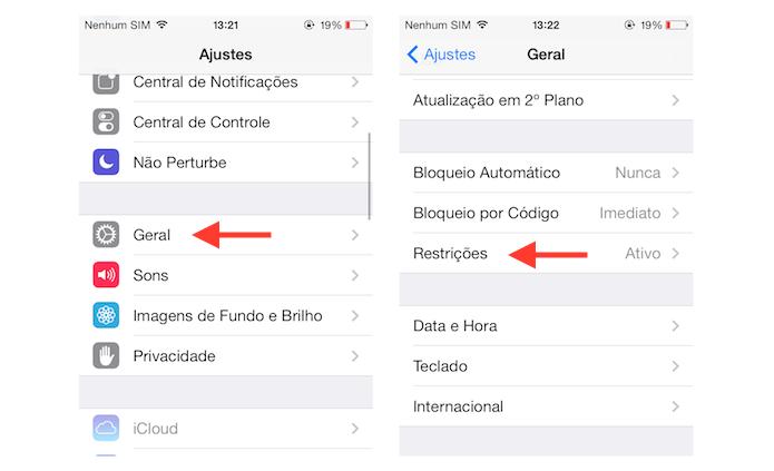Acessando as configurações de restrições do iOS (Foto: Reprodução/Marvin Costa)