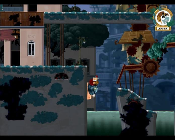 Em Chronology o jogador precisa alternar o controle entre os dois protagonistas para resolver os vários enigmas dos estágios (Foto: Reprodução/Daniel Ribeiro)