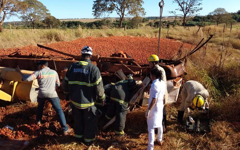 Caminhoneiro morreu após perder controle da direção e capotar, em Goiás (Foto: Divulgação/Corpo de Bombeiros)