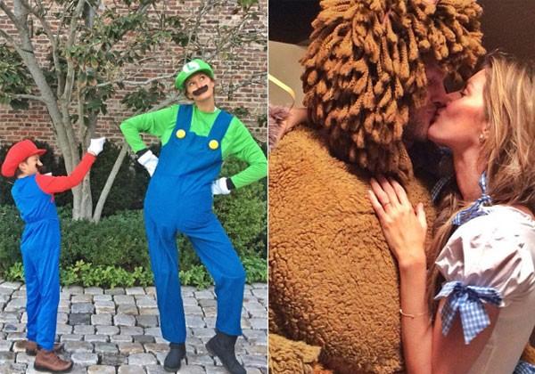 Gisele se fantasiou de Luigi e o eu filho, Benjamin, de Mario/ Gisele e o marido fantasiados comos os personagens de O Mágico de Oz (Foto: Reprodução/Instagram)