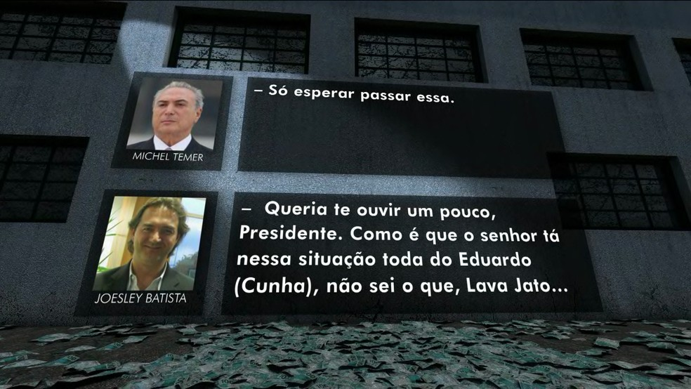 Joesley Batista pergunta a Temer como ele está com a situação toda de Cunha (Foto: Reprodução/TV Globo)