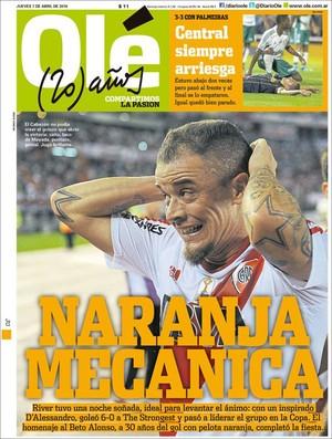 """BLOG: No comando da """"Laranja Mecânica"""", D'Ale é destaque em capa de jornal argentino"""