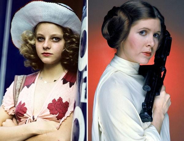 Jodie Foster e Princesa Leia, que foi interpretada por Carrie Fischer (Foto: Divulgação)