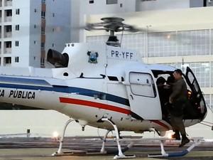 Helicóptero Potiguar 1 foi usado no resgate de acidentada no RN (Foto: Jorge Talmon/Inter TV Cabugi)