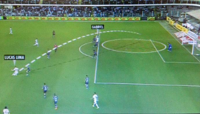 Detalhe da visão de Lucas Lima no lance do primeiro gol do Santos (Foto: Reprodução/TV Globo)