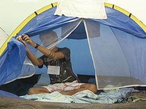 Estudantes montaram barracas e uma cozinha no local (Foto: Reprodução/Inter TV)