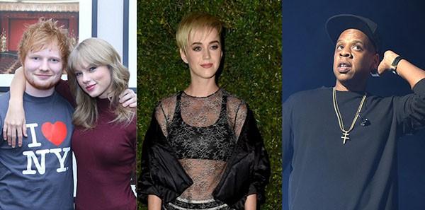 Ed Sheeran, Taylor Swift, Katy Perry, Jay-Z (Foto: Getty Images)