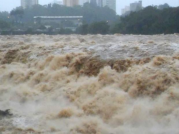 Nível do Rio Piracicaba ultrapassa os 4 metros na tarde desta terça-feira (12) (Foto: Wesley Justino/ EPTV)