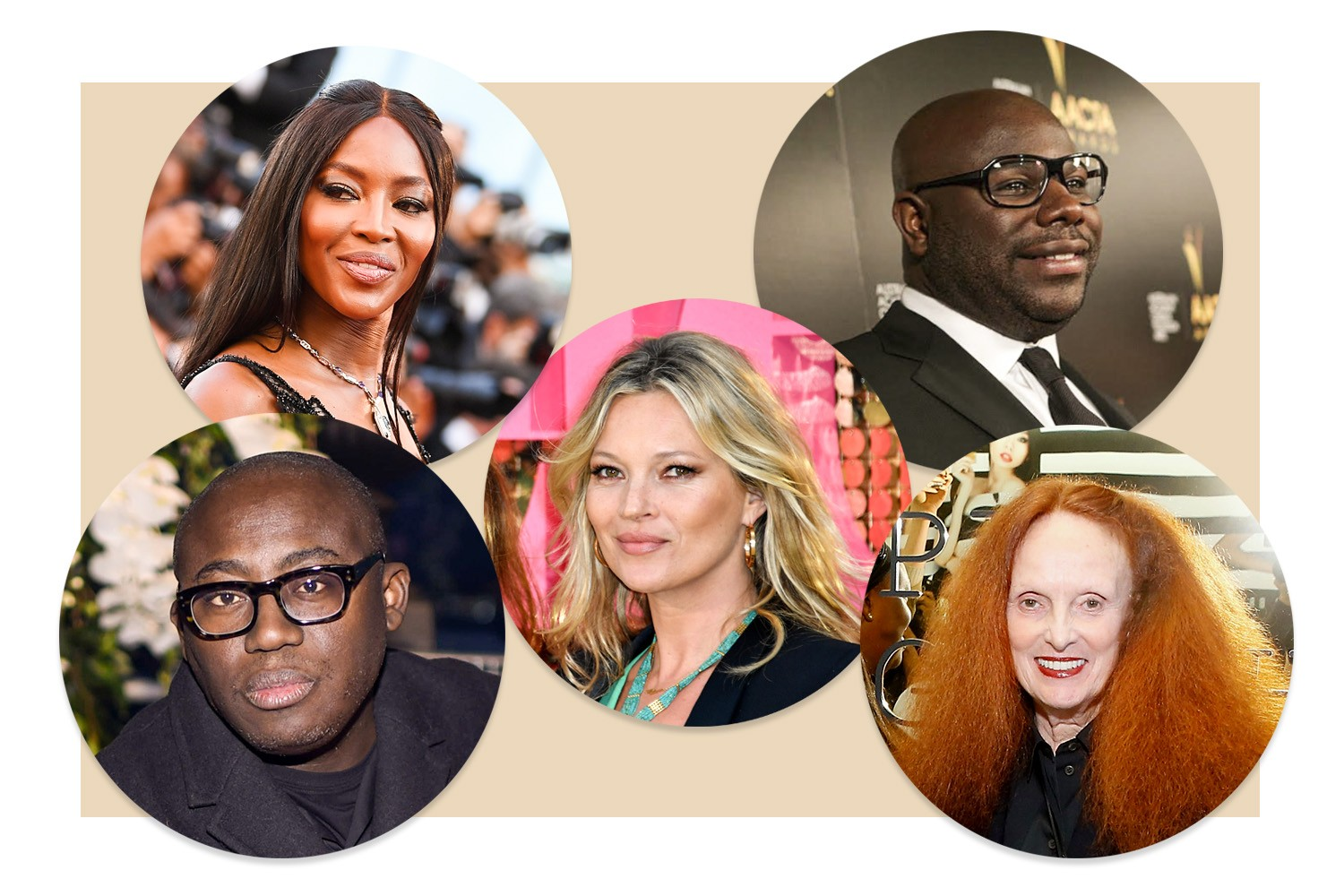 Edward Enninful, Naomi Campbell, Kate Moss, Steve Mcqueen e Grace Coddington (Foto: Getty Images)