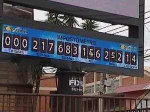 Impostômetro em Uberlândia (Foto: Reprodução/TV Integração)