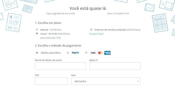 Serviço pode ser pago com cartão de crédito ou PayPal (Foto: Reprodução / Laura Martins)