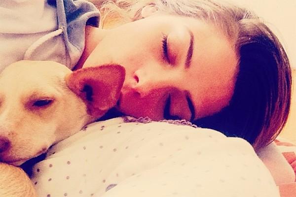 Ashley Greene, mais conhecida por interpretar Alice na saga 'Crepúsculo' perdeu seu cachorrinho Marlo em 2013 quando seu apartamento pegou fogo. Meses após a tragédia, Ashley adotou dois cachorrinhos. Olha só um deles com ela na foto! (Foto: Reprodução/Instagram)