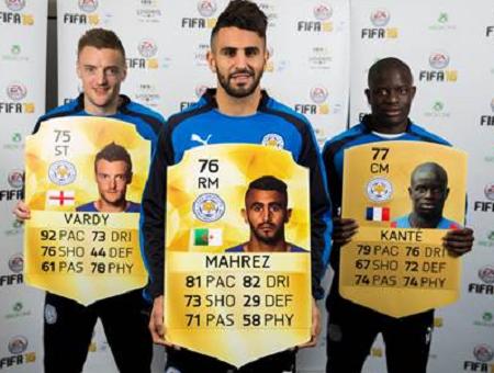 Vardy Mahrez Kante Fifa 16