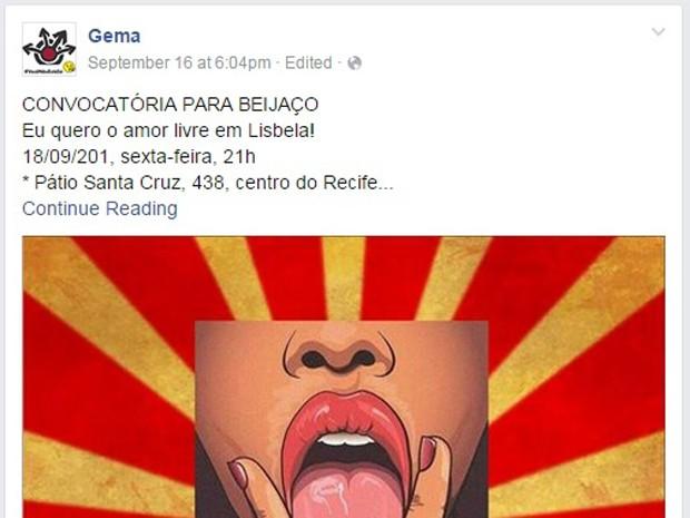 ´Núcleo Feminista de Pesquisas em Gênero e Masculinidades (Gema) publicou convocatória para beijaço nas redes sociais (Foto: Reprodução/ Facebook)