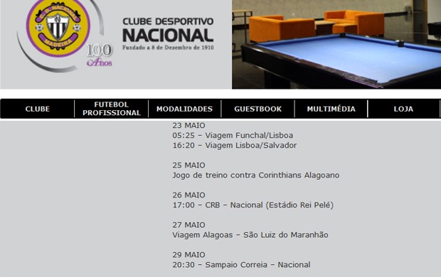 Site do Nacional, de Portugal, informa amistoso contra Sampaio Corrêa (MA) (Foto: Reprodução / site do Nacional)
